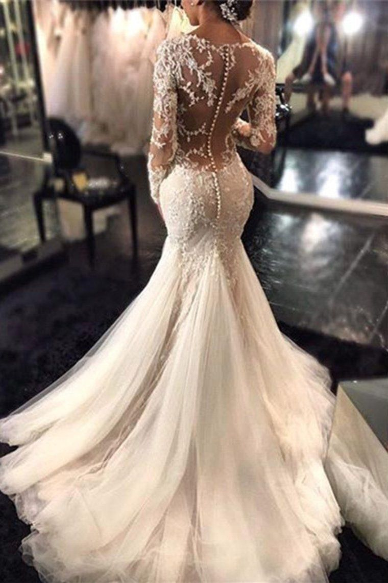 2019 V Neck Wedding Dresses Mermaid/Trumpet With Applique And Beads Sweep