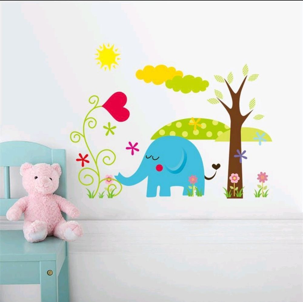 Details about Elephant and tree wall decal sticker baby nursery boy girl