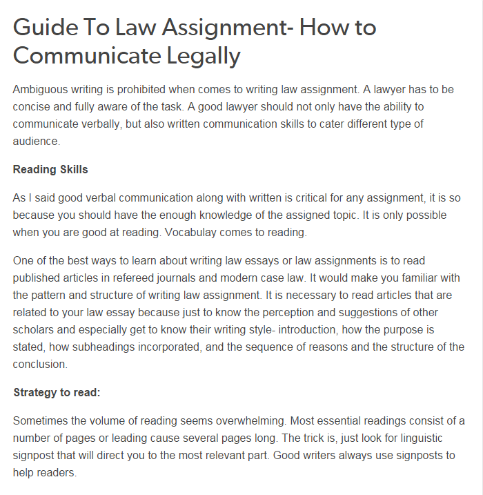 Guide To Law Assignment How To Communicate Legally Good Lawyers