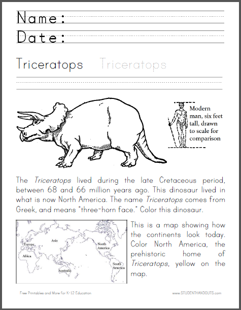 Triceratops Coloring Worksheet - Fun cross-curricular dinosaur ...