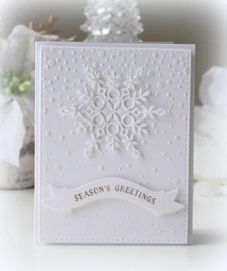 handmade winter/Christmas card ... all white ... snow theme ...