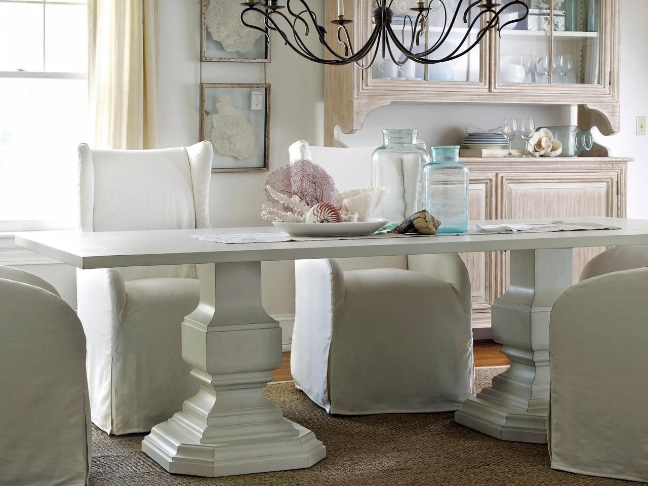 Coastal Decorating Ideas  Shell Display White Dining Table And Magnificent Simple Dining Room 2018