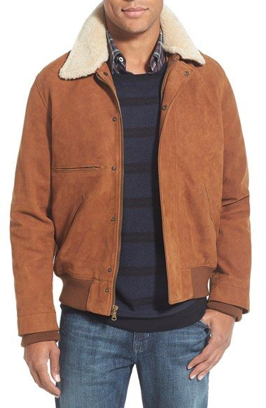 Billy Reid Theo Flyer Suede Jacket With Genuine