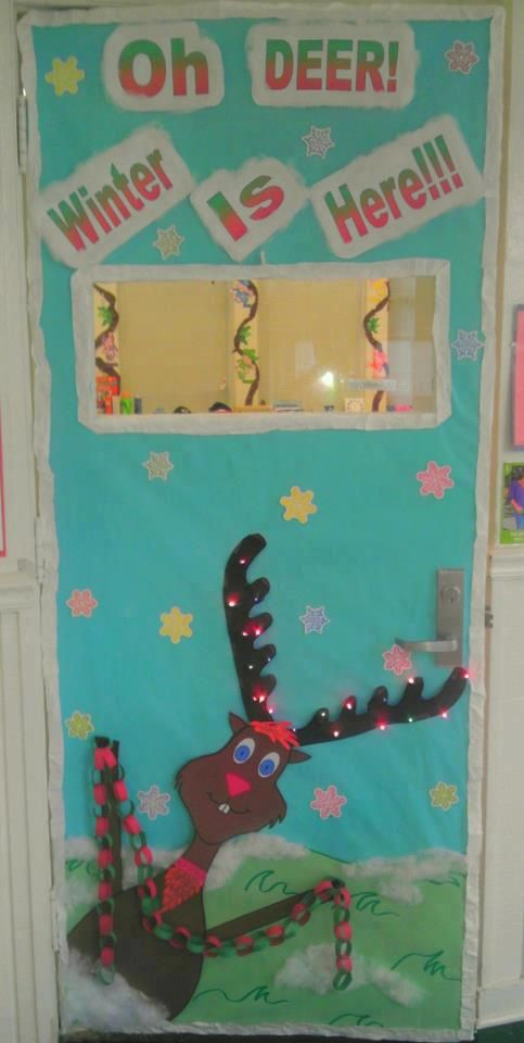 Winter Holiday Classroom Decorations : Oh deer winter is here classroom door decoration library