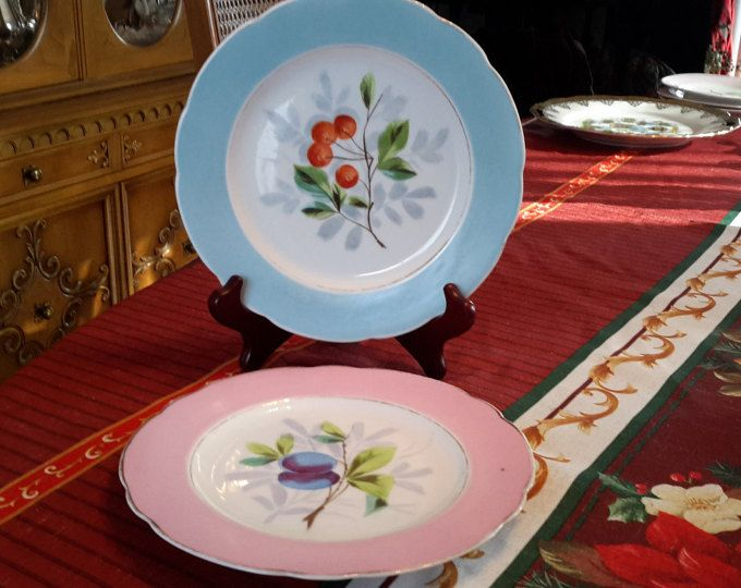 Items similar to Pair of vintage desert salad luncheon bread plate with fruit design colored rim gold trim shabby chic cottage chic farmhouse decor ... & Pair of vintage white china desert luncheon bread with fruit ...