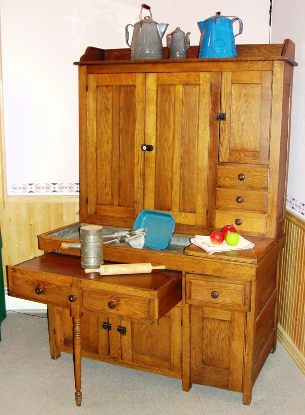 dry sink with zinc sink | 1910 Oak Kitchen Cabinet w/Pull Out Work ...