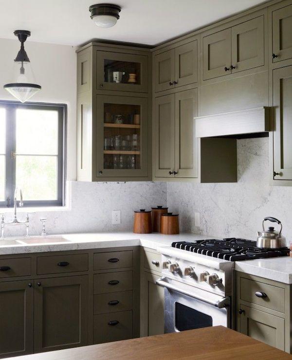 Olive Green Kitchen Cabinets Transitional Kitchen Pratt And Lambert Olive Bark Disc Interiors Green Kitchen Cabinets Kitchen Remodel Kitchen Cabinets