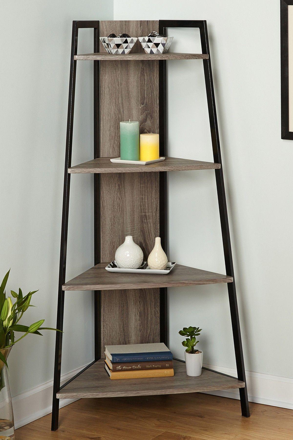 Simple Living Seneca Black/ Grey Metal Corner Shelf   Overstock™ Shopping    Big Discounts On Simple Living Office Storage U0026 Organization