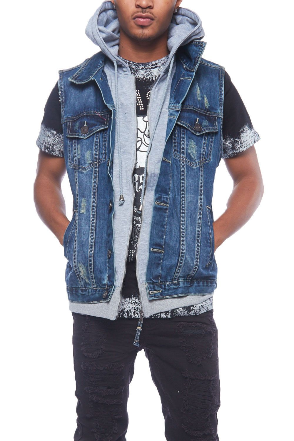 Vests mens hipster urban distressed denim jean vest jacket w
