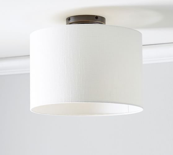 Pb Classic Flushmount Drum Shade Linen Shades Home Lighting