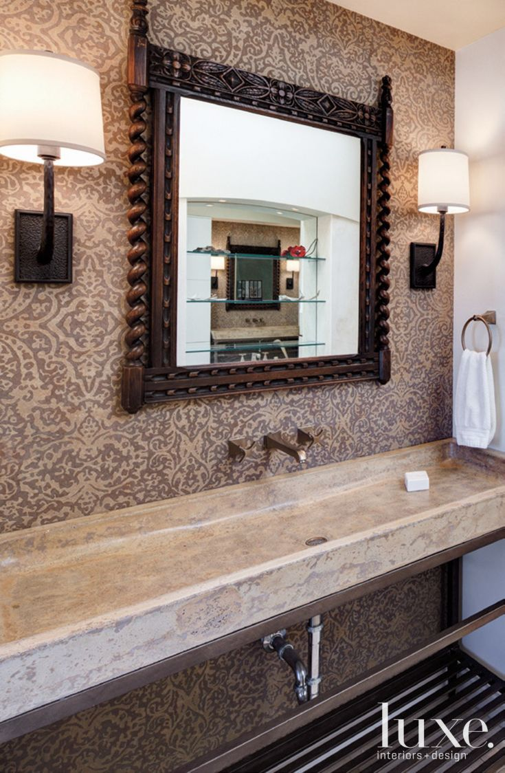 Eclectic Neutral Bathroom with Trough