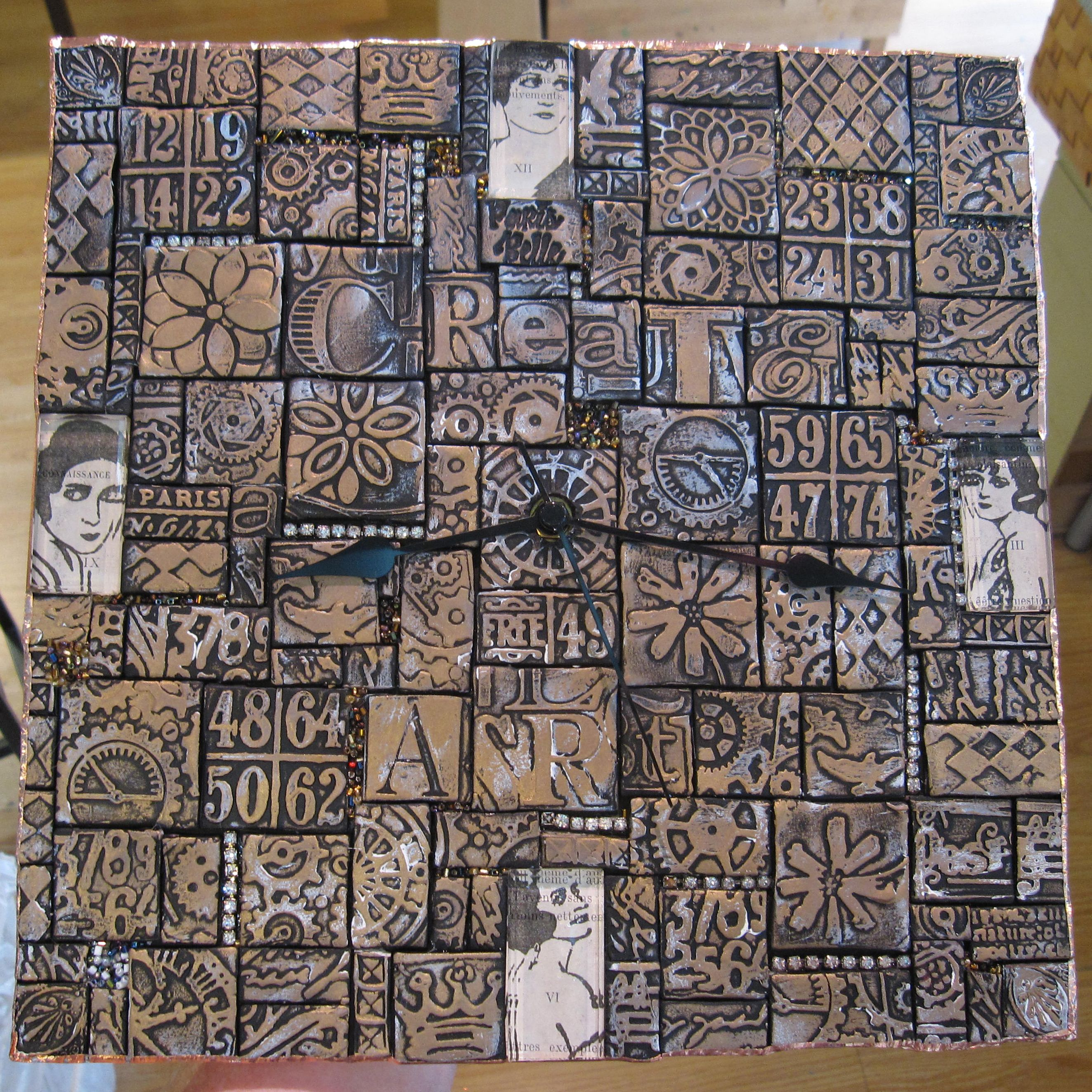 Polymer Clay Tiled Clock This Is Beautiful With All The Diffe Tile Bits I