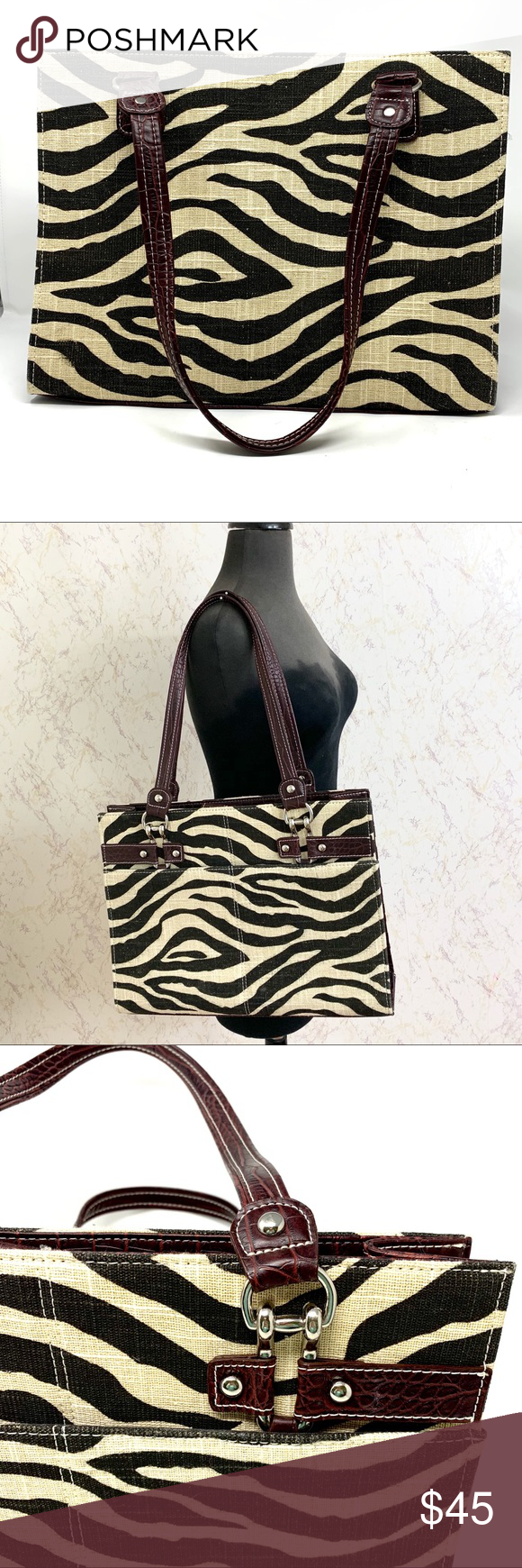 Wilson's Leather Zebra Print Large Laptop Tote Large