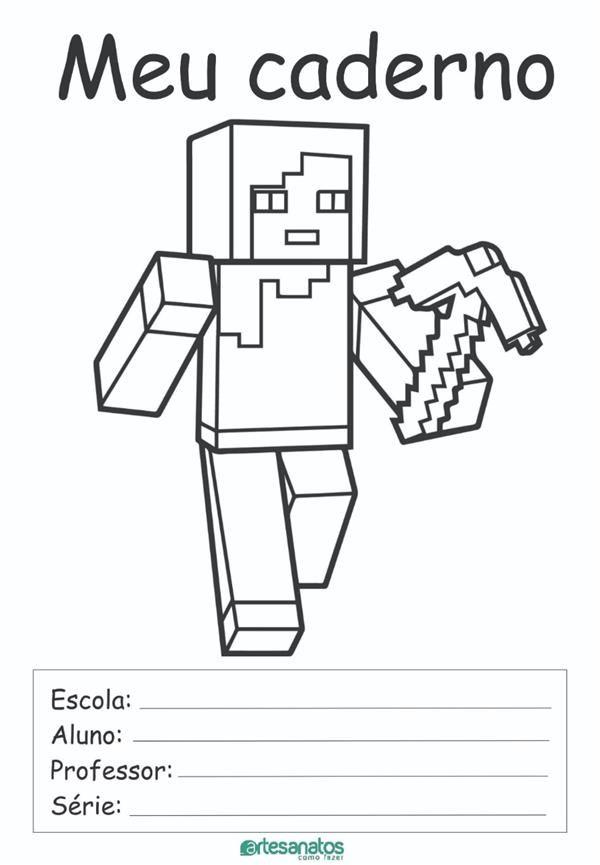 Desenhos Para Capa De Caderno Escolar Para Imprimir Minecraft