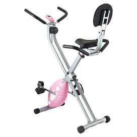 "Folding recumbent bike with cushioned seat back and adjustable magnetic resistance system.  Product: Recumbent bikeColor: Pink, gray and blackFeatures:  Adjustable magnetic resistance system and seatDisplays time, speed, distance and caloriesFolding frame for easy storage Dimensions: 46"" H x 32"" W x 19.55"" DNote: Assembly required"