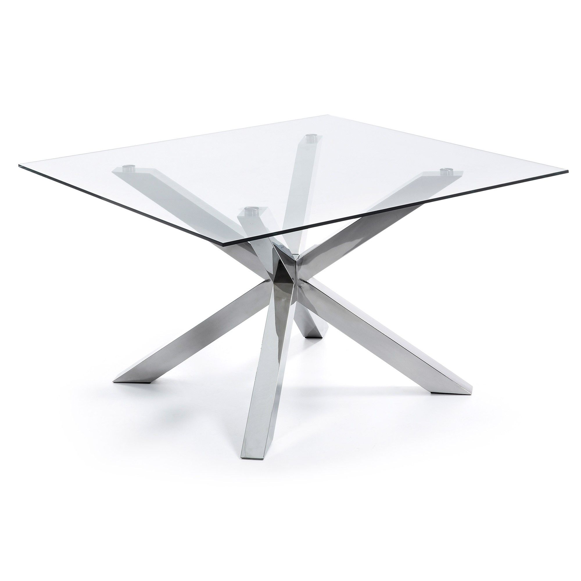 Table Argo 149x149 cm, inox et verre