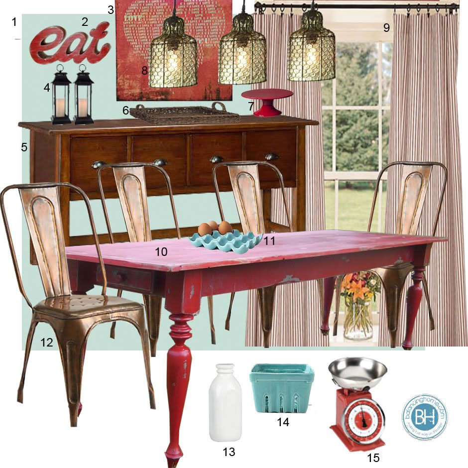 Red Dining Room Table: Mood Board: Turquoise And Red Dining Room (Farmhouse