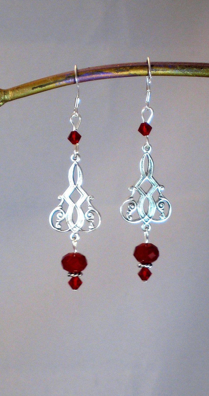 Garnet red crystal celtic chandelier earrings red jewelry red garnet red crystal celtic chandelier earrings red jewelry red earrings celtic jewelry arubaitofo Choice Image