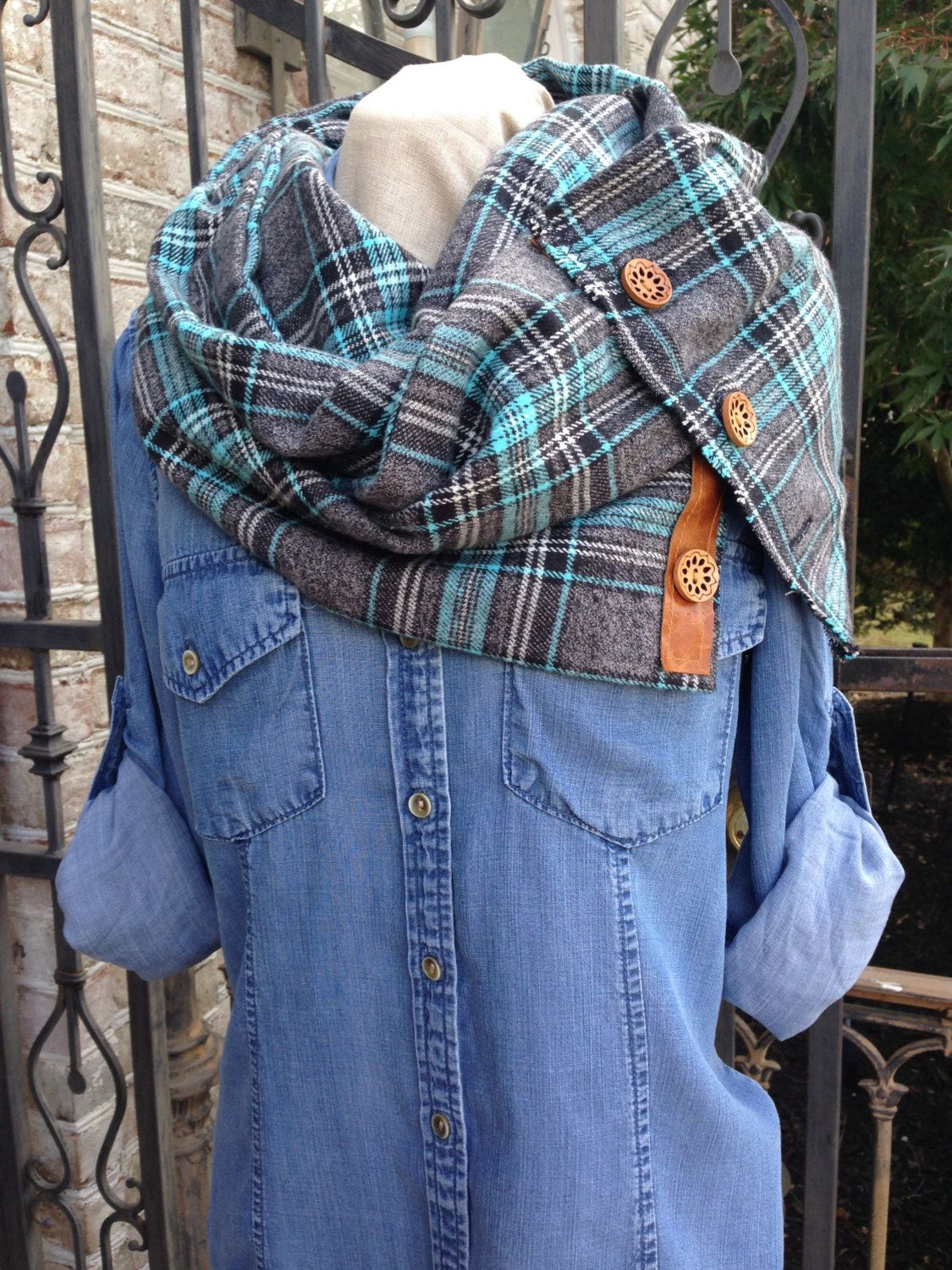scarf craft ideas soft and cozy turquoise plaid flannel scarf with 2877