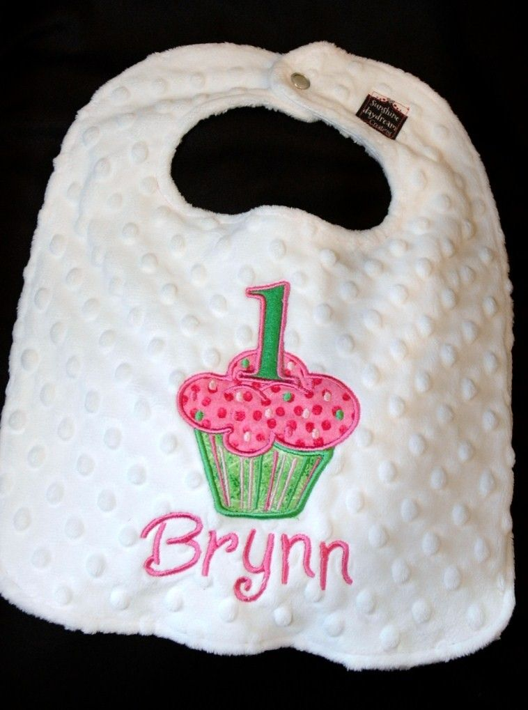 Cupcake Birthday Bib First Birthday 1st Birthday Can be