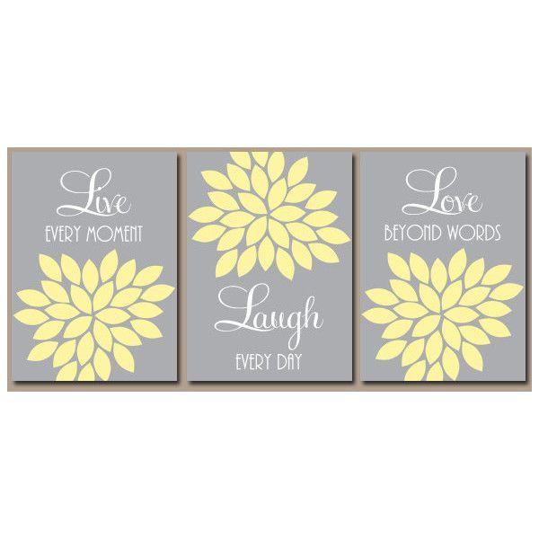 Yellow Gray Wall Art Yellow Gray Bedroom Live Laugh Love Yellow Gray ...