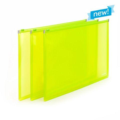 Neon Green Zip Folios.