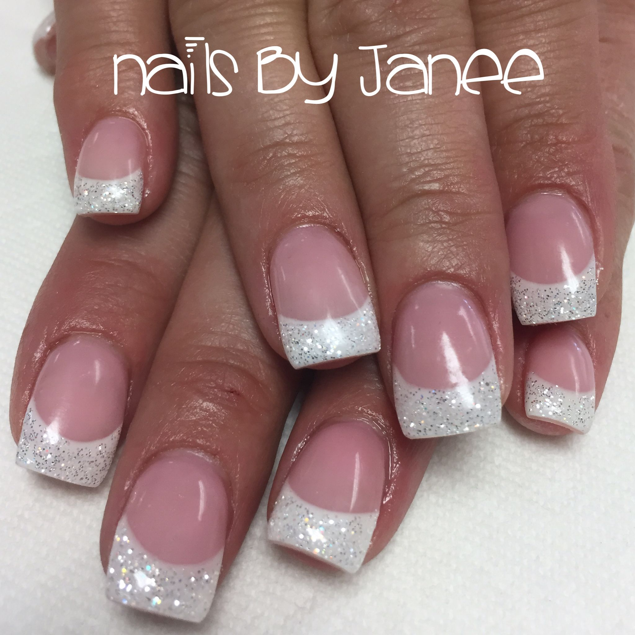 Pink & White gel Nails by Janee | Nails by Janee at A Wild Hair ...