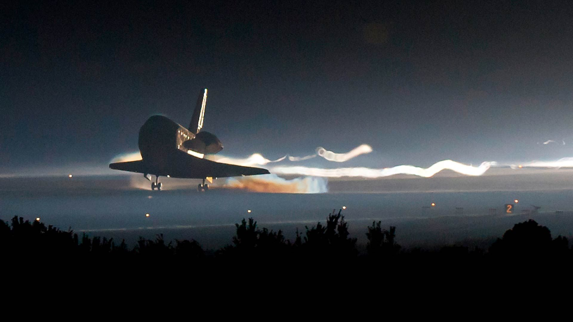 Shuttle Landing At Night Space Pictures Shuttling Wallpaper Space