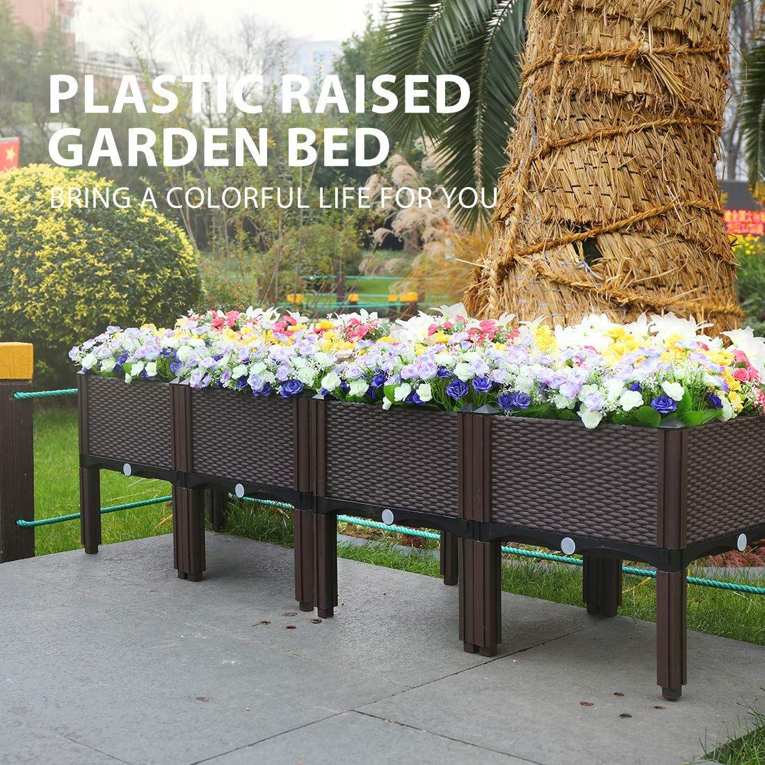Plastic Raised Garden Bed Planter Kit Brown Set of 4