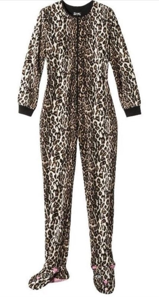 46e93f77f37e Nick   Nora Size Large Footed Pajama Adult Womens Footed Cat Leopard ...