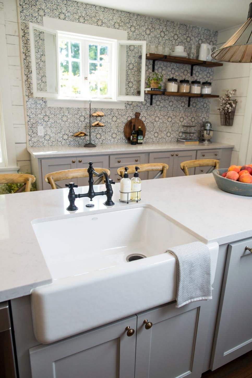 Fixer upper marble kitchen - Fixer Upper Makeover A Style Packed Small Space Love Love Love Everything About This Kitchen The Blue And White Tile Backsplash The Open Shelving