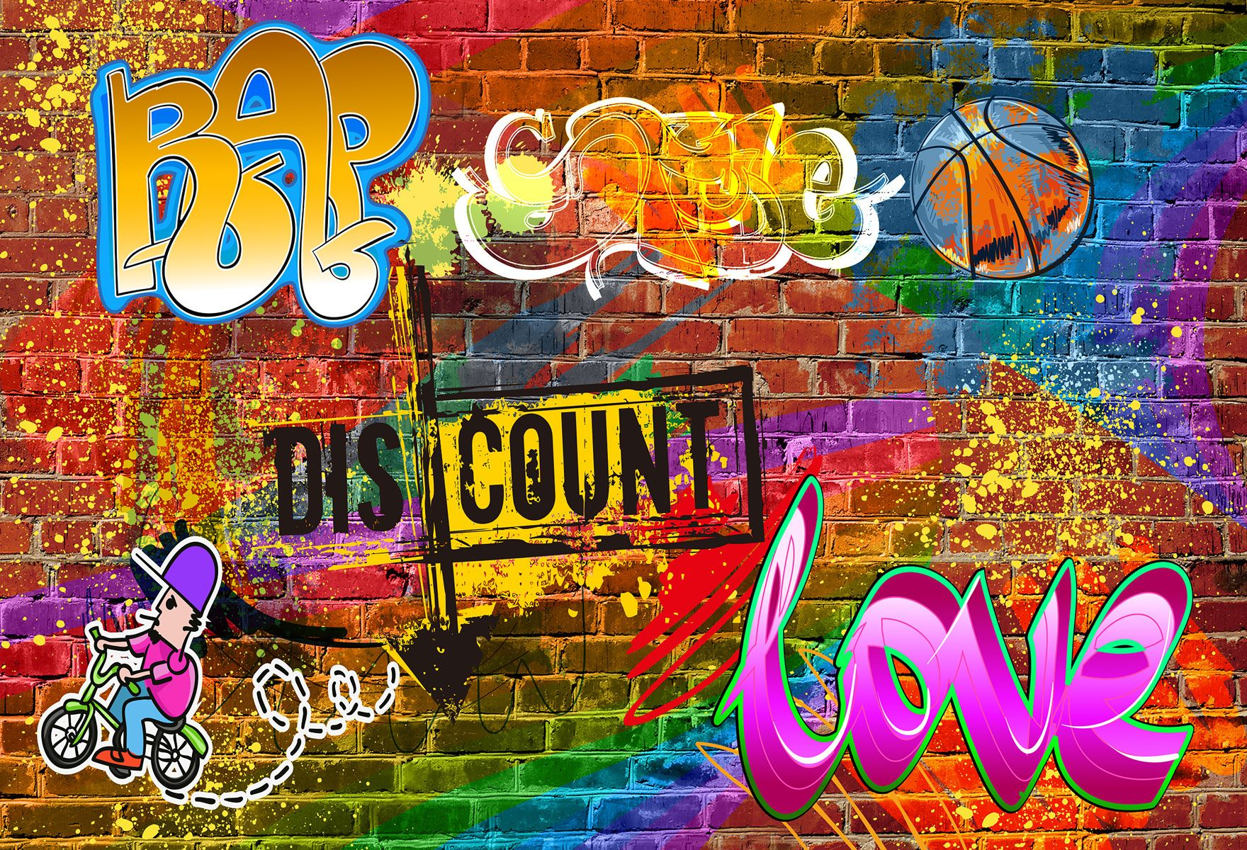 Hiphop Graffiti Brick Wall Background Backdrop Brick