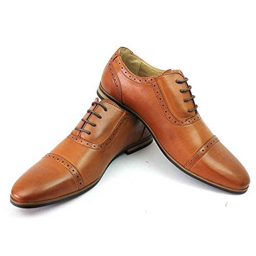 Men/'s Cognac Brown Cap Toe Detailed Formal Dress Shoes Oxfords Lace Up AZAR MAN