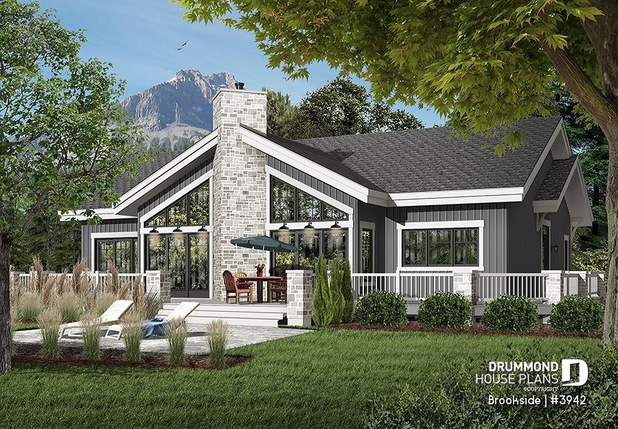Discover The Plan 3942 Brookside Which Will Please You For Its 4 Bedrooms And For Its Mountain Styles Vacation House Plans Lake House Plans Exterior Fireplace