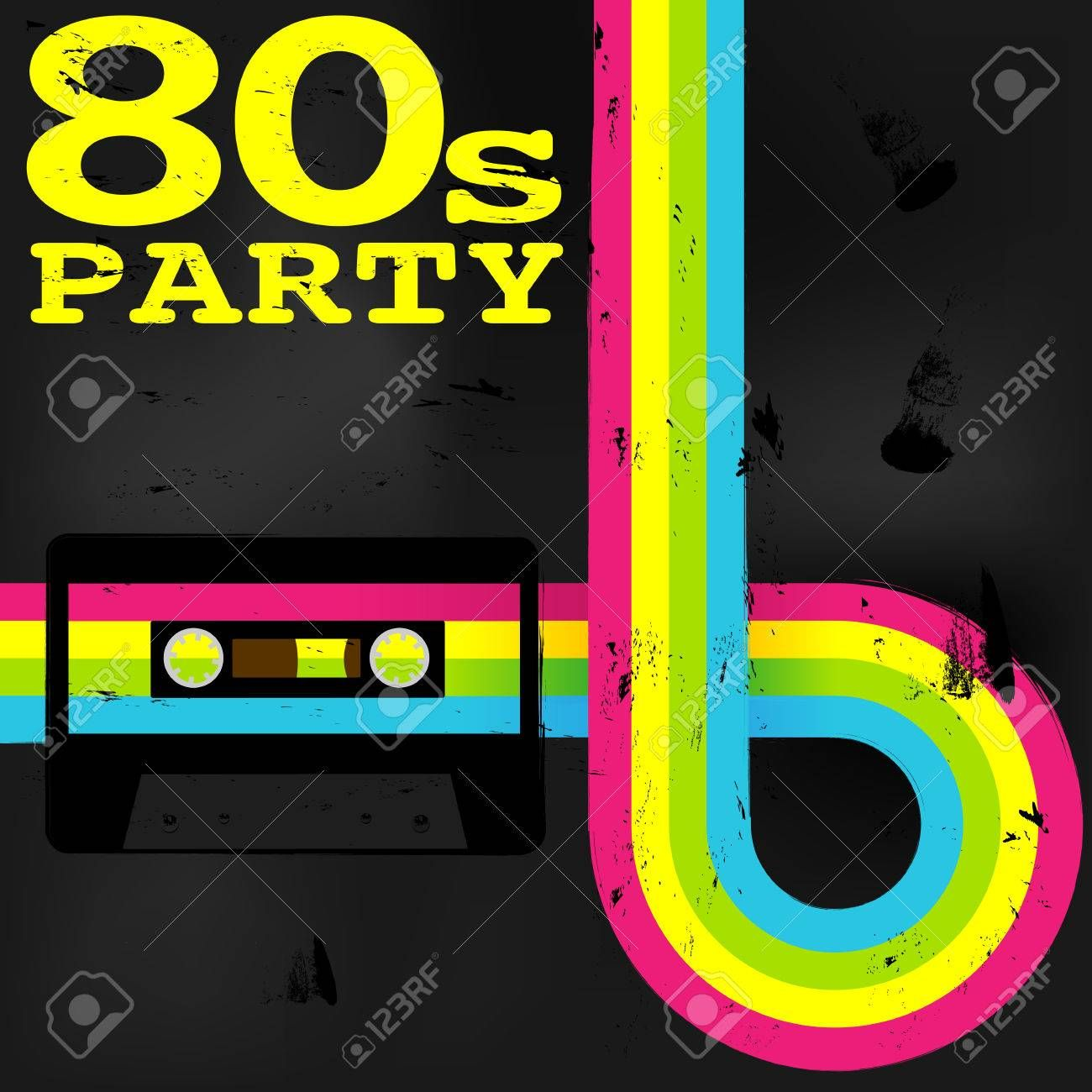 80s party invitations template