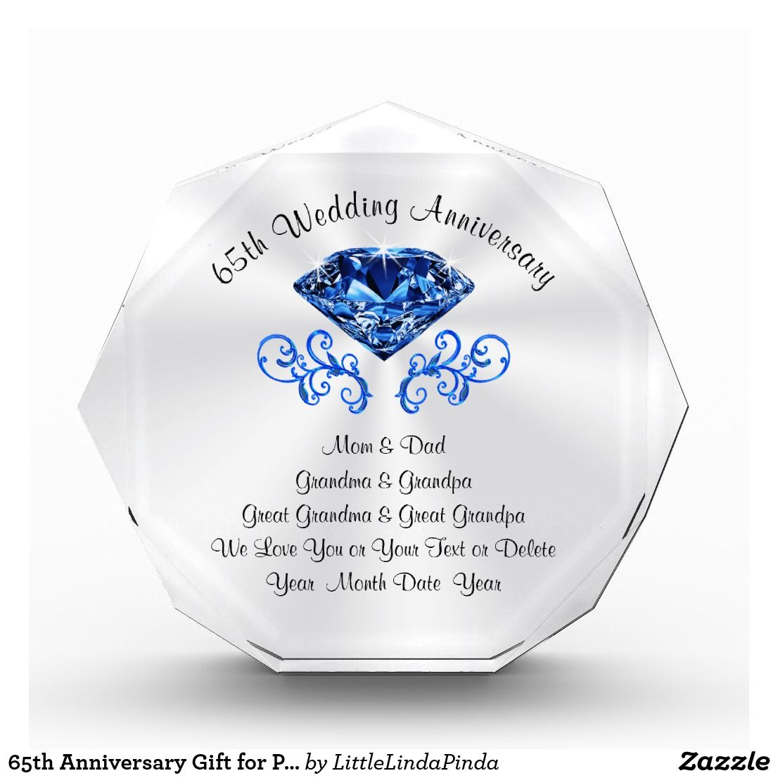 65th Anniversary Gift For Parents Grandparents Zazzle Com In