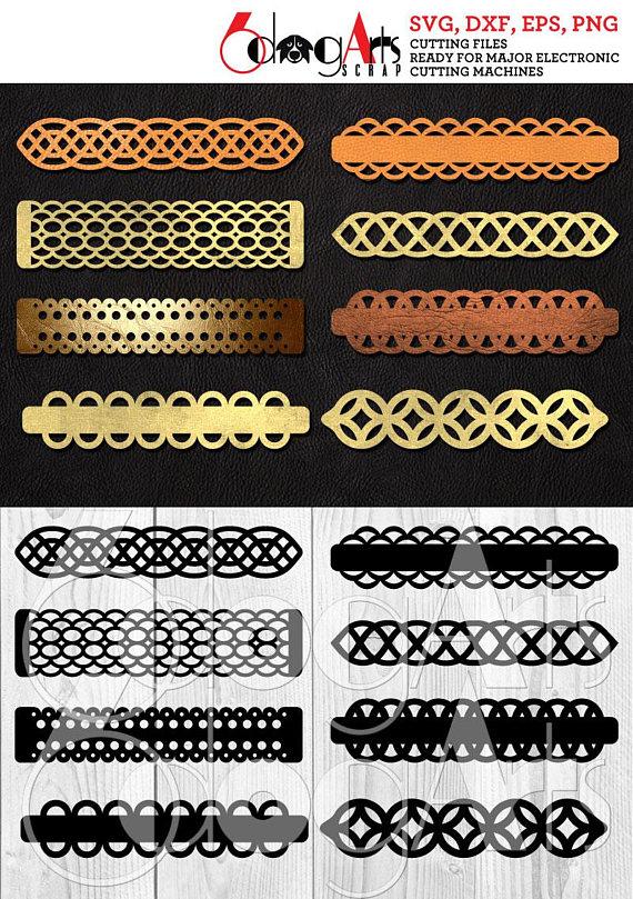 8 Cuff Bracelet Leather Jewelry Templates Vector Digital