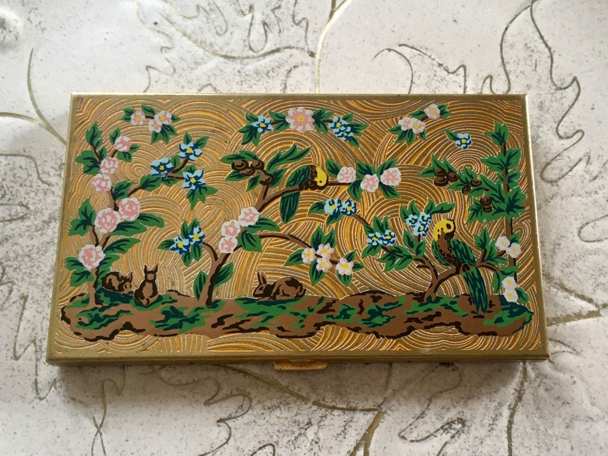 Vintage Volupte Cigarette Case Business Card Case Enamel Design ...