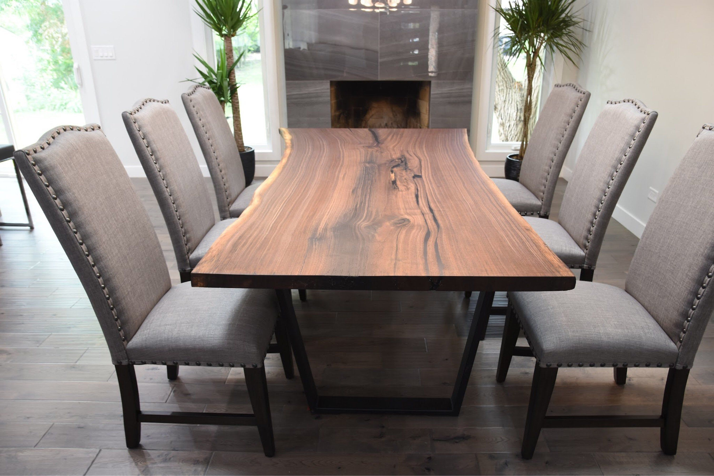 Single Slab Black Walnut Live Edge Dining Table Live Edge Dining