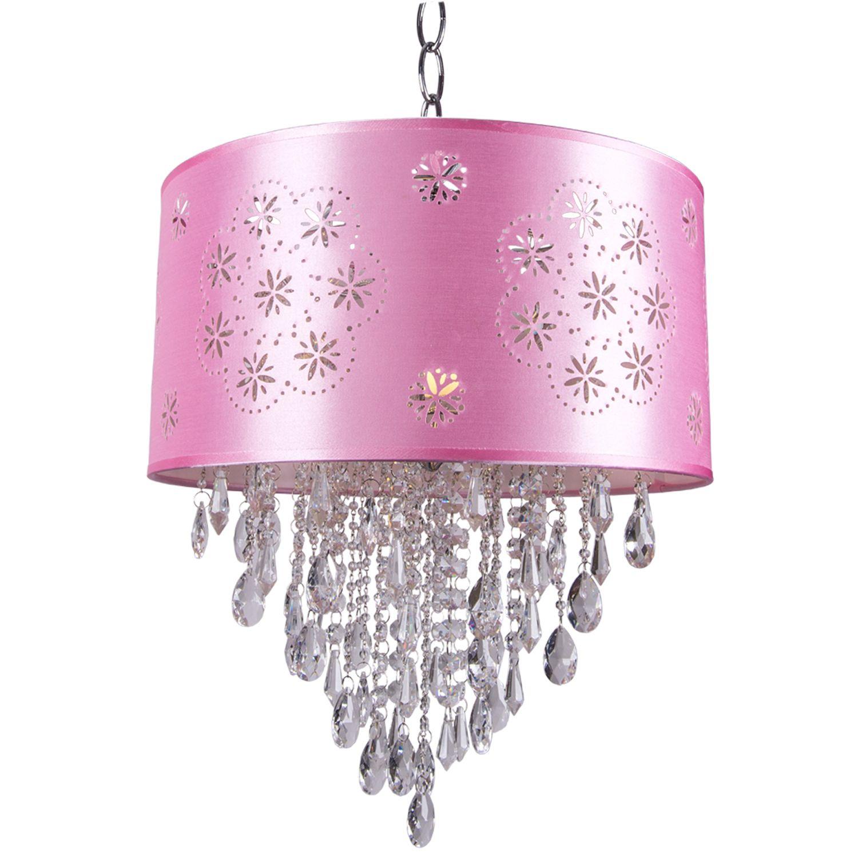 Jm 1 Light Pink Drum Shade Pendant In Chrome Crystal Pendant