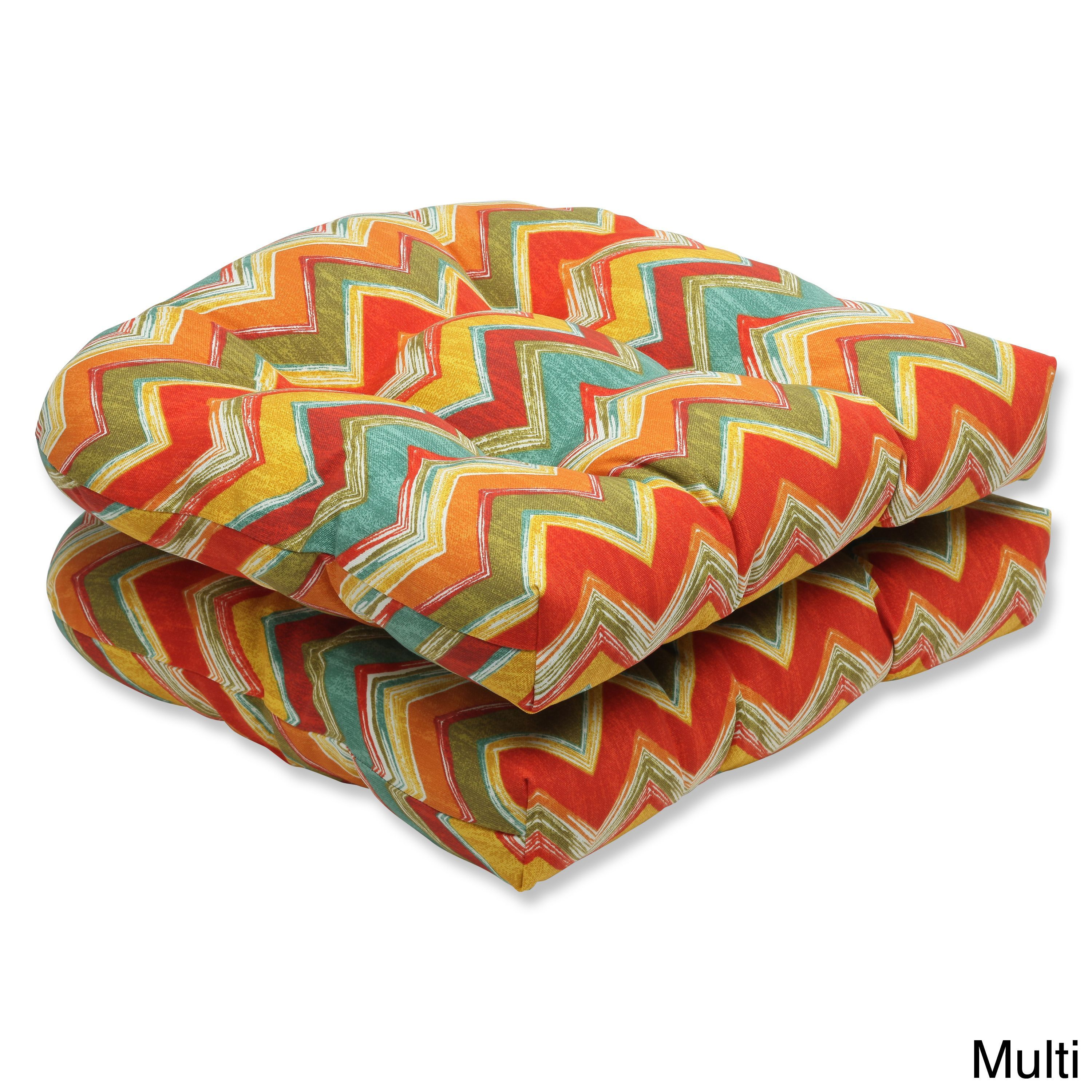Pillow Perfect Outdoor Tamarama Wicker Seat Cushion Set Of 2 Multi