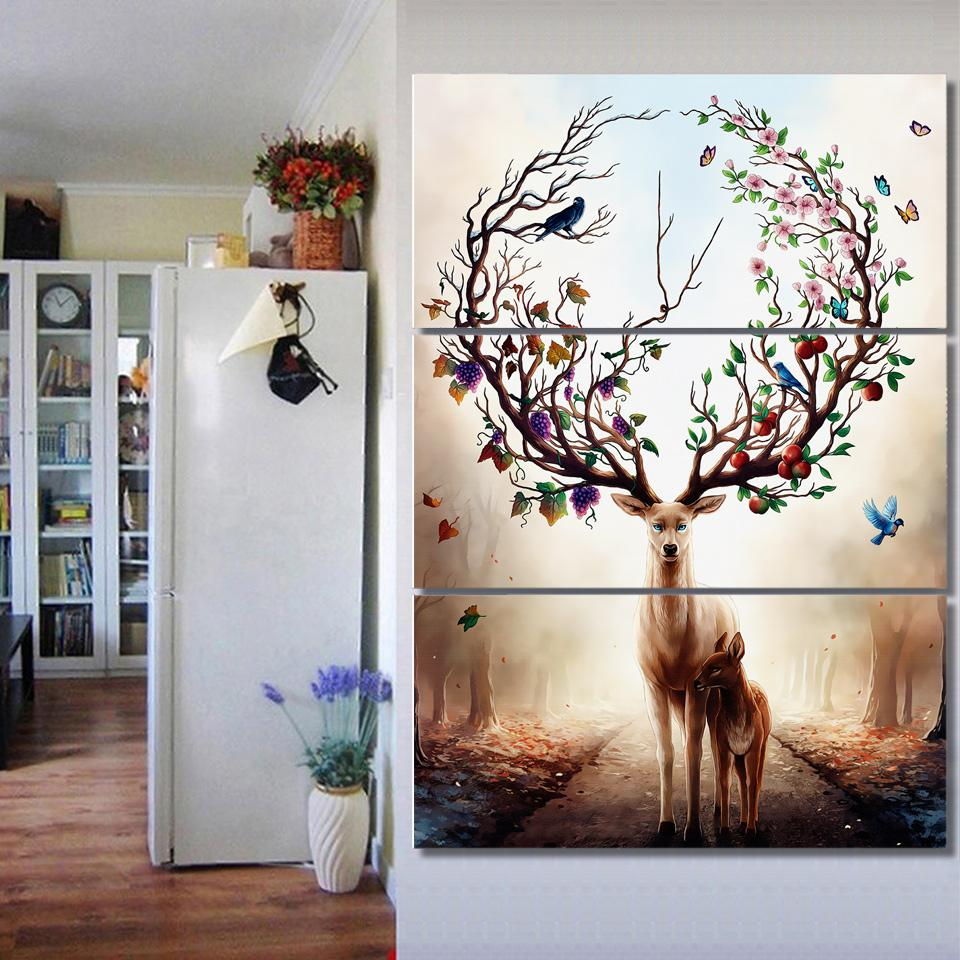 painting piece from canvas room art spray for paintings living decor colourful product trees frameless dhgate wall chenjong leaf home printings