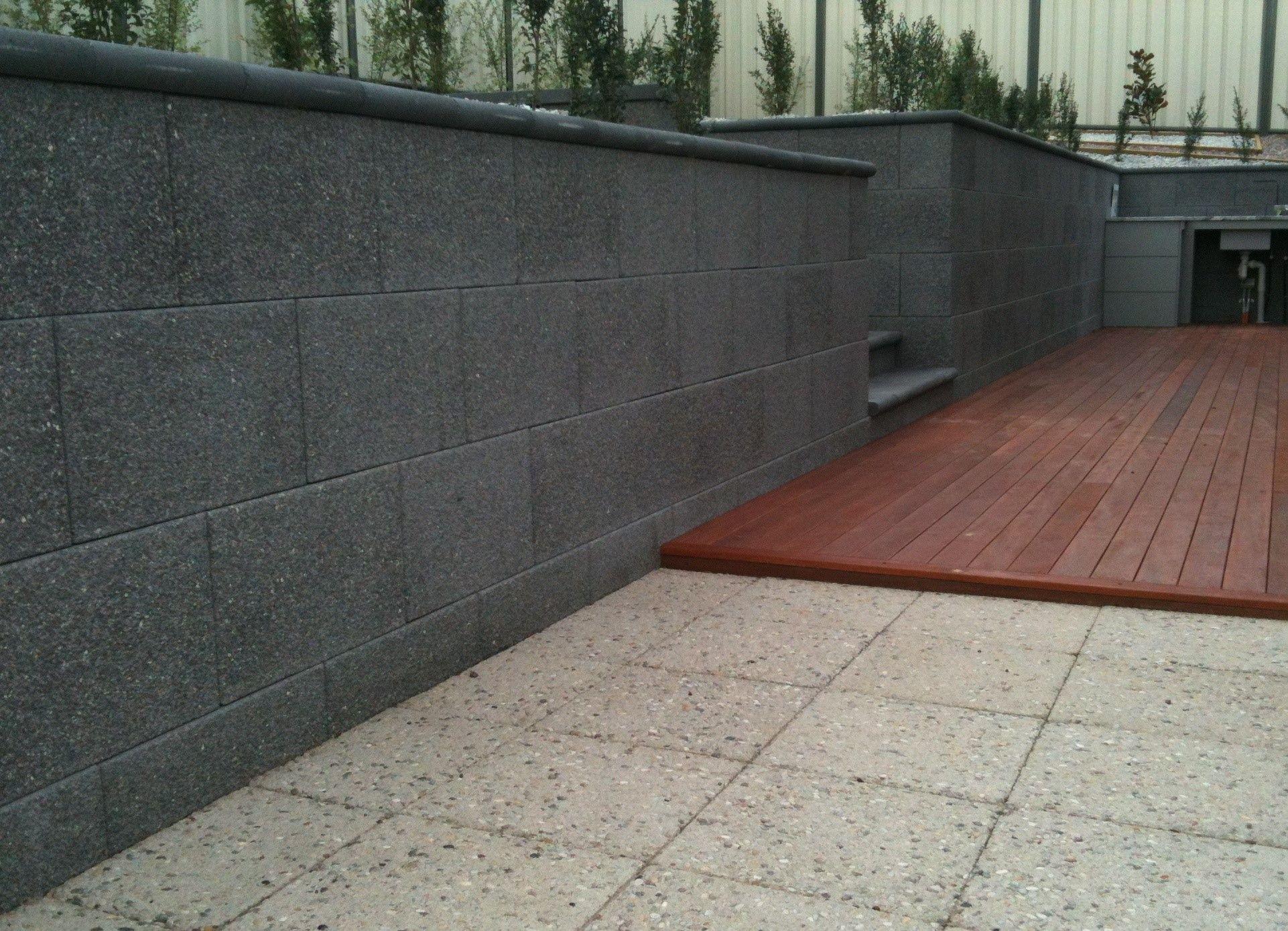Charcoal Dark Grey Ecostone Retaining Wall Backyard Entertaining Area Concrete Retaining Walls Backyard Entertaining