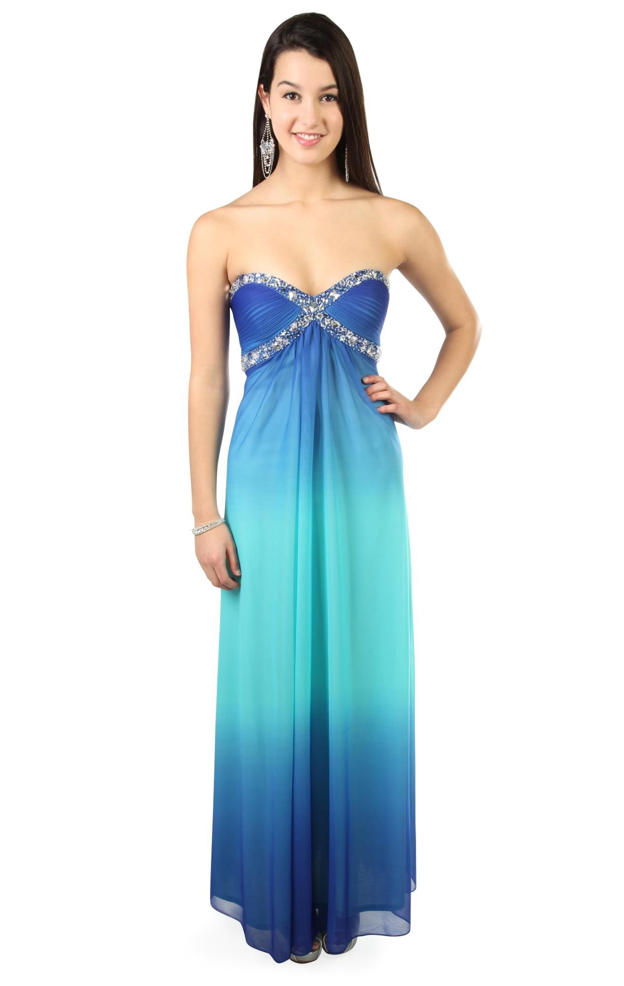 Strapless royal blue ombre long prom dress with beading debs