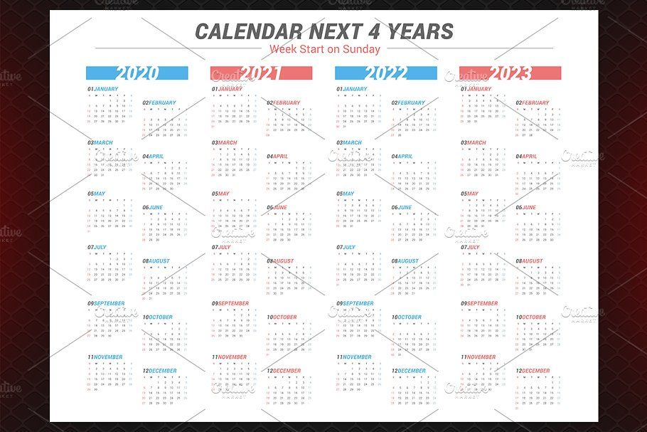 Calendar For Next 4 Years 2020 2023