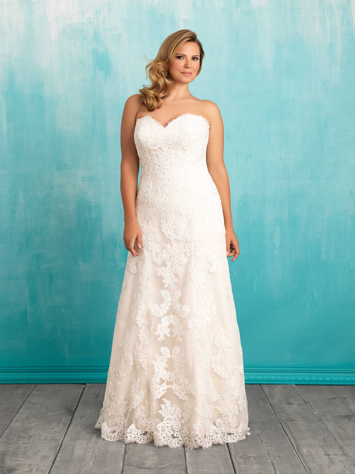 Style W370. Lace and satin A-line gown with a sweetheart neckline ...