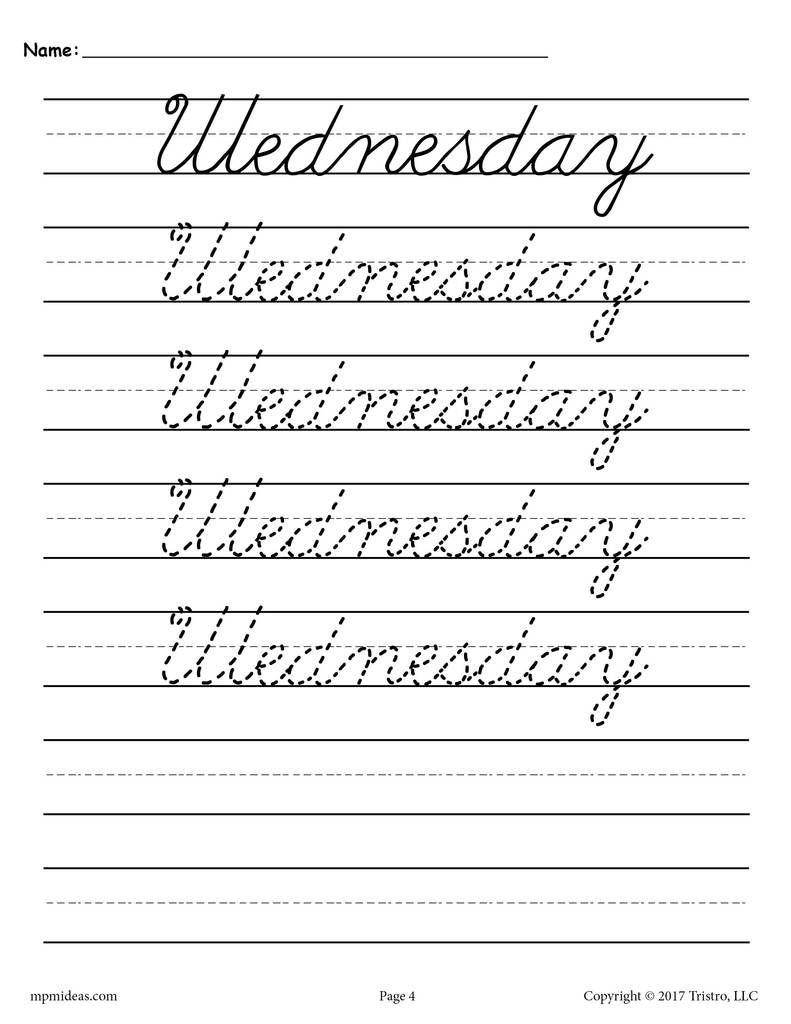 7 FREE Days of the Week Cursive Handwriting Worksheets in 2018 ...