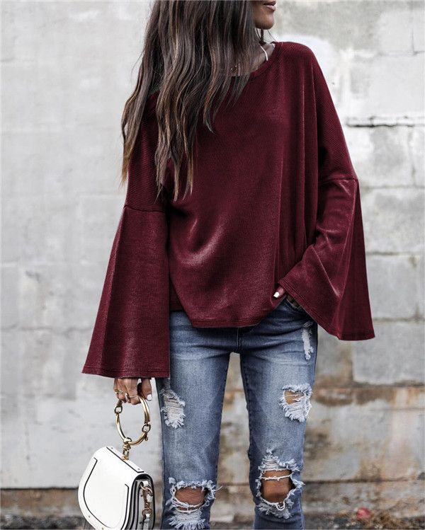 Mandarin Sleeve Solid Tops Holiday Fall Daily Casual Blouse -   17 dress For Work fall ideas