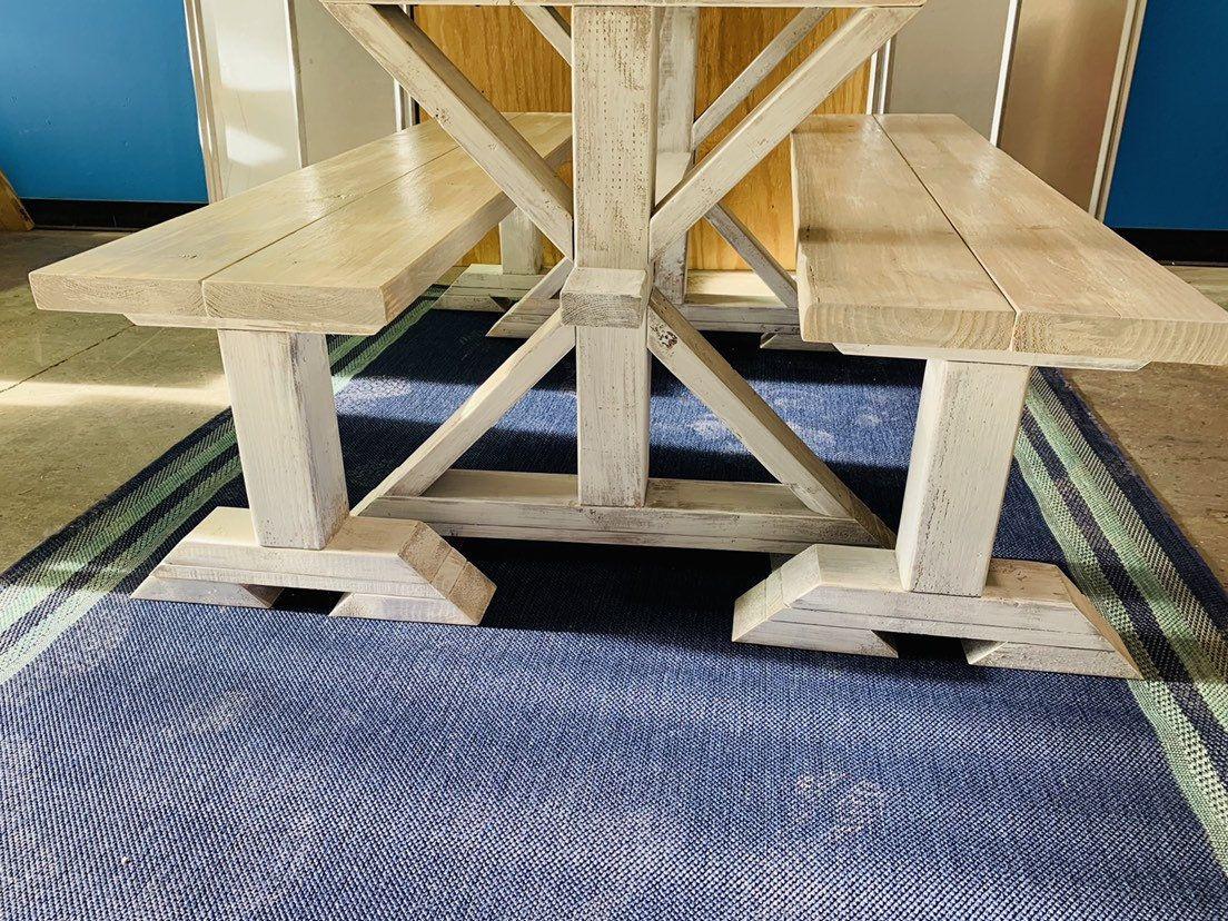 Diy farmhouse table leg set antique white distressed gray