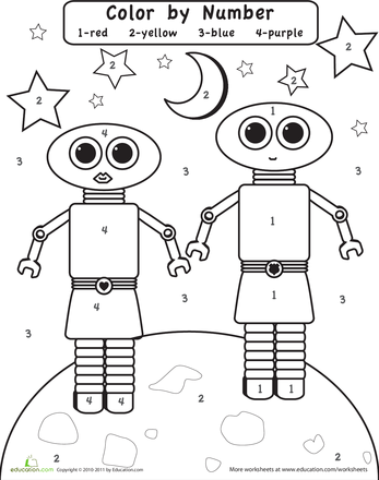Color by Number: Robots in Space | Worksheets, Robot and Number